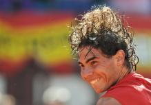 Rafael Nadal is happy after winning his Davis Cup match.jpg