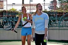 Jelena Jankovic has a laugh with Brittany Snow.jpg