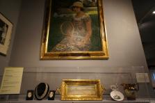 1880 Tennis Oil on Canvas painting by Rosario + Tennis Necklace from 1920 International Tennis Hall of Fame.jpg