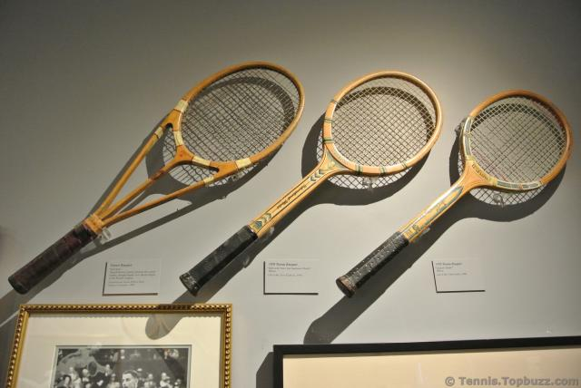 Tennis Racquets from 1930s at International Tennis Hall of Fame.jpg