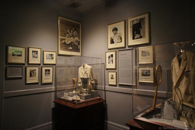 Tennis photos from 1920s-40s & trophies & racquets at International Tennis Hall of Fame.jpg