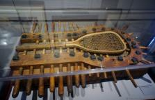 Racquet bending machine from 1876 displayed at International Tennis Hall of Fame & Museum.jpg